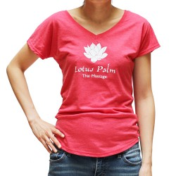 Coral Red T-Shirt with Lotus Flower